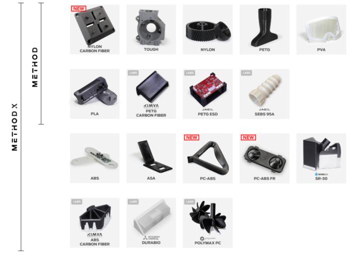 A MakerBot METHOD 3D nyomtatóhoz használható alapanyagok